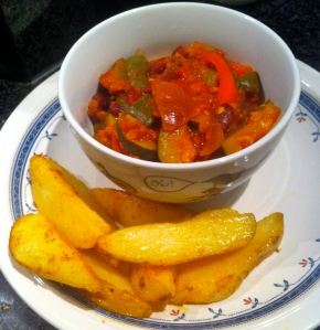 Vegetable chilli and paprika potato wedges