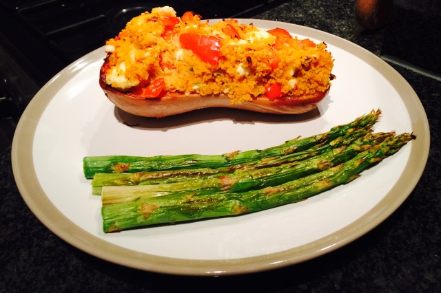 Stuffed butternut squash with grilled asparagus