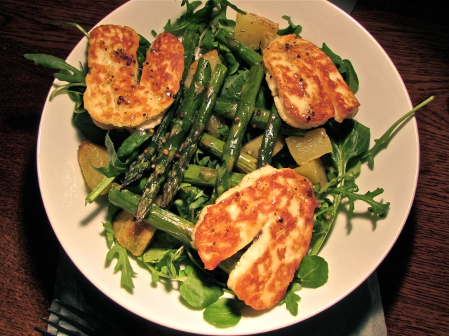 Halloumi, asparagus and potato salad