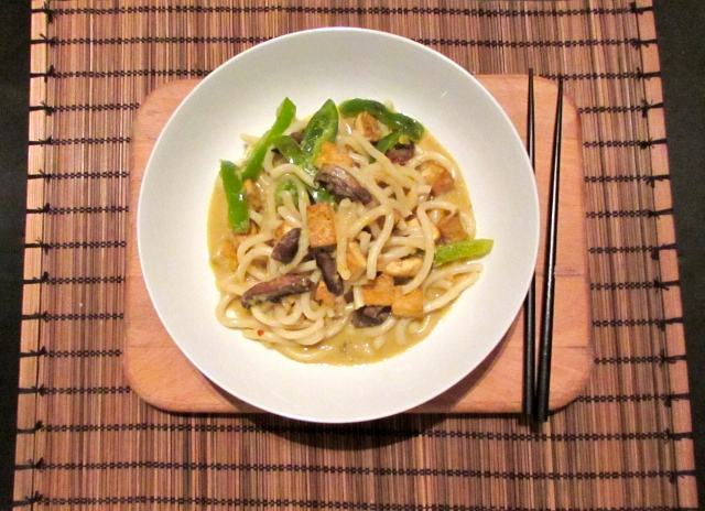 Tofu and vegetable chilli udon