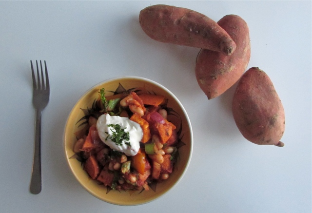Sweet potato and kale chilli
